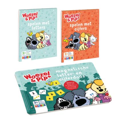 Woezel & Pip Zwijsen Magnetische cijfer- en letterdoos, doeblokje cijfers en doeblokje letters