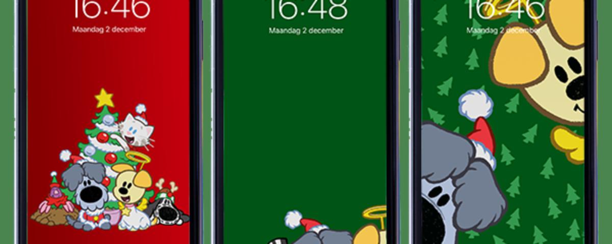 Telefoons met 3 kerst wallpapers